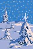 Paesaggio di sera di inverno. Cielo blu. royalty illustrazione gratis