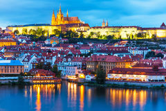 Paesaggio di sera di Praga, repubblica Ceca Fotografie Stock