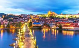 Paesaggio di sera di Praga, repubblica Ceca Fotografia Stock Libera da Diritti