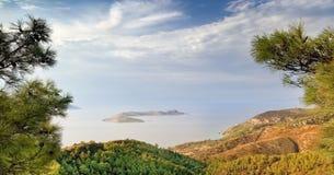 Paesaggio di sera, isola della Rodi (Grecia) Fotografia Stock Libera da Diritti