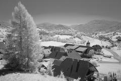 Paesaggio di Snowy in alpi austriache Immagine Stock