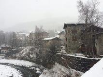 Paesaggio di Snowy a Bormio Immagini Stock Libere da Diritti