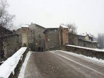 Paesaggio di Snowy a Bormio Immagine Stock
