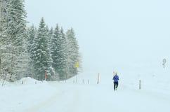 Paesaggio di Snowy a Engelberg sulle alpi svizzere Fotografia Stock