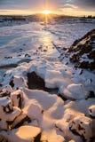 Paesaggio di Snowy Islanda Fotografia Stock