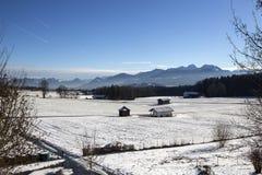 Paesaggio di Snowy nelle montagne bavaresi Immagine Stock Libera da Diritti