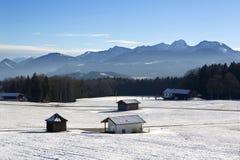 Paesaggio di Snowy nelle montagne bavaresi Fotografia Stock