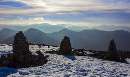 Paesaggio di Snowy sulla sommità di Ben Nevis, Scozia immagini stock