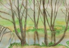 Paesaggio di Springn, dipingente Fotografia Stock