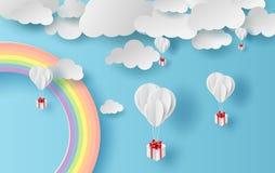 Paesaggio di stagione estiva dell'illustrazione con un arcobaleno sul fondo del cielo blu Regalo dei palloni che galleggia sull'a immagine stock