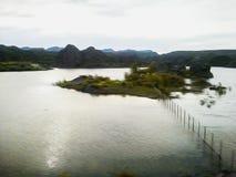 Paesaggio di stile dell'acquerello di un lago e delle piante in Argentina fotografia stock
