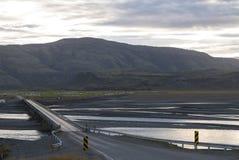 Paesaggio di stupore sulla strada nei fiordi orientali in Islanda immagine stock libera da diritti