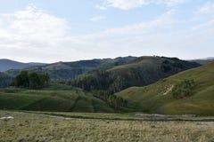 Paesaggio di tempo di primavera sulle colline selvagge della Transilvania romania Fondo scura e scura, illuminazione del punto, Fotografia Stock Libera da Diritti