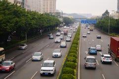 Paesaggio di traffico della sezione di Baoan dell'autostrada nazionale di Shenzhen 107 Immagini Stock Libere da Diritti