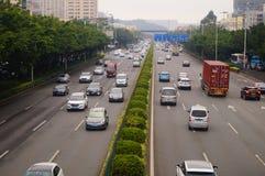 Paesaggio di traffico della sezione di Baoan dell'autostrada nazionale di Shenzhen 107 Immagine Stock Libera da Diritti