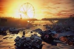 Paesaggio di tramonto di apocalisse Fotografie Stock Libere da Diritti