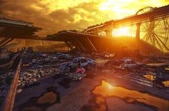 Paesaggio di tramonto di apocalisse Immagine Stock