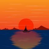 Paesaggio di tramonto con il bello vettore dell'isola Fotografie Stock Libere da Diritti