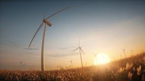 Paesaggio di tramonto dell'impianto agricolo a fini energetici dei generatori eolici nel campo del prato Immagini Stock Libere da Diritti