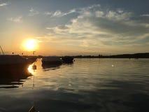 Paesaggio di tramonto nel lago di Constance Immagine Stock