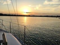 Paesaggio di tramonto nel lago di Constance Immagini Stock Libere da Diritti