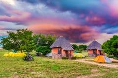 Paesaggio di tramonto nello Zambia fotografie stock