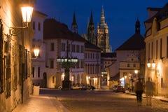 Paesaggio di tramonto a Praga Fotografie Stock