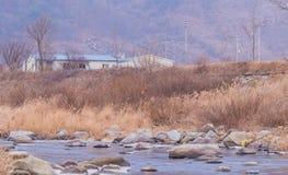 Paesaggio di un fiume in pieno delle rocce e di grandi pietre Immagine Stock Libera da Diritti
