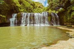 Paesaggio di una cascata con gli alberi ed il cielo blu Immagini Stock