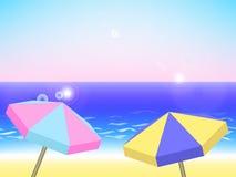 Paesaggio di vacanza estiva, fondo di vettore con la spiaggia Fotografie Stock Libere da Diritti
