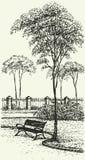 Paesaggio di vettore. Bench sotto un albero alto nel parco Royalty Illustrazione gratis