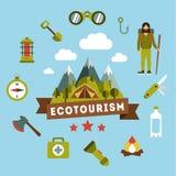 Paesaggio di vettore che descrive un campeggio Picnic royalty illustrazione gratis