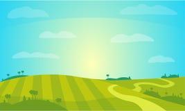 Paesaggio di vettore con Sunny Field Illustrazione rurale di paesaggio dell'azienda agricola Fotografia Stock Libera da Diritti