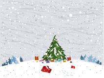Paesaggio di vettore di inverno con l'albero di Natale Illustrazione di Stock