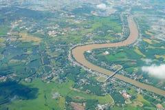 Paesaggio di vista aerea del cielo di terreno coltivabile Immagine Stock