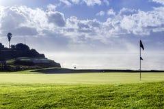 Paesaggio di vista sul mare del campo da golf di Algarve Fotografie Stock