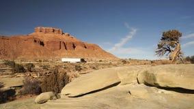 Paesaggio di Wheeler Big Rig Black Truck Utah della lunga distanza 18 del rimorchio dei semi stock footage