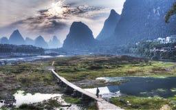 Paesaggio di Yangshuo dalla Cina Guilin Fotografia Stock