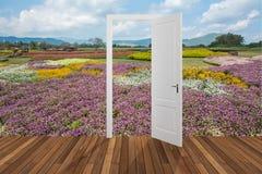 Paesaggio dietro la porta di apertura, 3D Immagini Stock