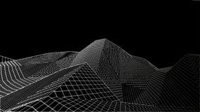 Paesaggio digitale astratto Fondo del paesaggio di Wireframe Grandi dati illustrazione futuristica di vettore 3d Immagine Stock Libera da Diritti