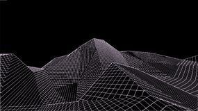 Paesaggio digitale astratto Fondo del paesaggio di Wireframe Grandi dati illustrazione futuristica di vettore 3d Fotografia Stock Libera da Diritti