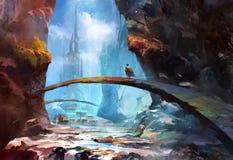Paesaggio dipinto della montagna con un castello e un viaggiatore illustrazione vettoriale