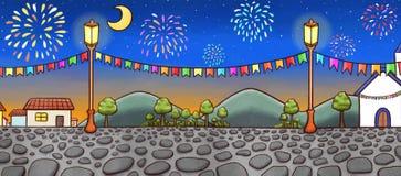 Paesaggio disegnato a mano di un villaggio festivo alla notte, con i fuochi d'artificio su fondo illustrazione vettoriale
