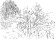 Paesaggio disegnato a mano, stile lineare di arte Alberi e casa tirati su fondo bianco illustrazione di stock