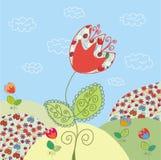 Paesaggio divertente con il tulipano Immagine Stock Libera da Diritti