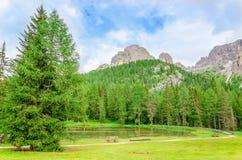 Paesaggio in dolomia di Sesto, Italia della montagna Fotografie Stock