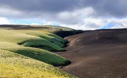 Paesaggio drammatico dell'Islanda con una collina verde ed assomigliare neri della lava ad una luna Serenit? dell'Islanda fotografia stock libera da diritti