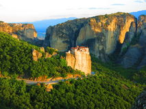Paesaggio drammatico a Meteora, Grecia Fotografia Stock Libera da Diritti
