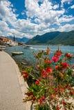 Paesaggio e Perast pacifico, Montenegro fotografia stock