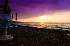 Paesaggio epico di tramonto dell'oceano Immagine Stock